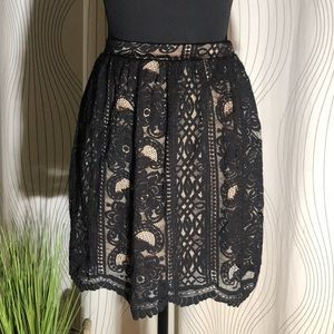 Exhilaration- Black Lace/Nude Lining Pencil Skirt